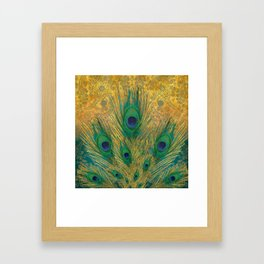 """Turquoise and golden peacock"" Framed Art Print"
