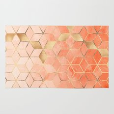 Soft Peach Gradient Cubes Rug