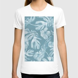 Tropical Escape Teal Blue Leaves + Hibiscus T-shirt
