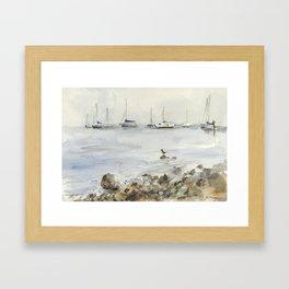 Lake Tahoe Marina Watercolor Framed Art Print