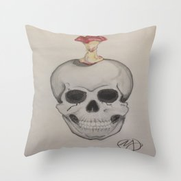 Skull and Apple Throw Pillow