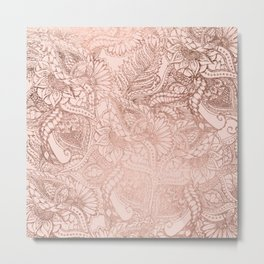 Modern rose gold floral illustration on blush pink Metal Print