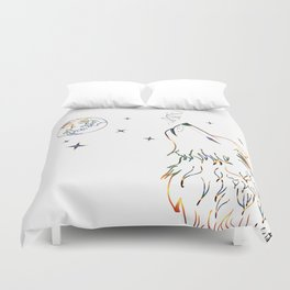 Wolf howling on moon sketch Duvet Cover