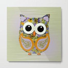 Cute Purple and Orange Floral Owl Metal Print