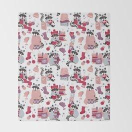 Hygge raccoon // white background Throw Blanket