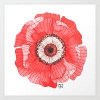 oana befort Art Prints featuring Red Poppy by Oana Befort