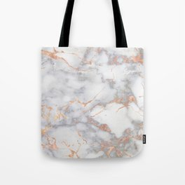 Gray Marble Rosegold  Glitter Pink Metallic Foil Style Tote Bag