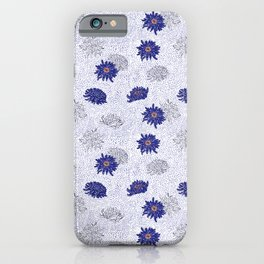 Blue Japanese Flower pattern iPhone Case