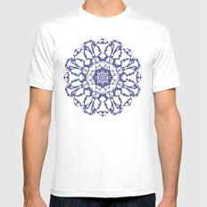 Abstract Mandala White Mens Fitted Tee MEDIUM