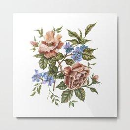 Wildflower Bouquet Watercolor Painting Metal Print