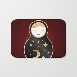 Russian doll matrioshka Babushka smiling Kawaii cute face, Stars, moon, constellation, night sky Bath Mat