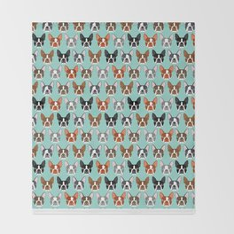 Boston Terrier heads cute pet portraits terrier owner must have gifts hipster dog breeds cute puppy Throw Blanket
