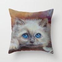kitten Throw Pillows featuring KITTEN by Canisart