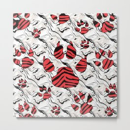 Red Tiger Print Animal Tracks Metal Print