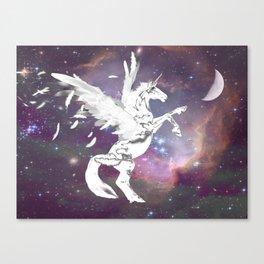 White Unicorn Pegasus Fairy Horse Kid's Bedroom Fantasy Art A546 Canvas Print
