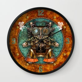 Cacotopia Steampunk Kitty - brass Wall Clock