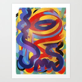 Abstract Lines Graffiti Joyful Art Pattern  Art Print