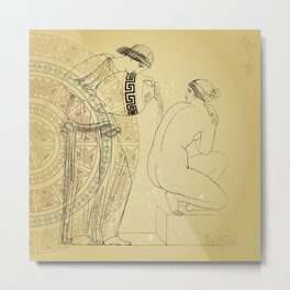 Vintage Greek collection, grecian lady at the bath, linear feminine illustration, wall posters  Metal Print