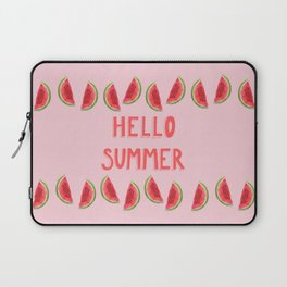 Hello Summer Watercolor Handlettered Painting - Pink Background Laptop Sleeve