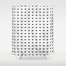 White Marble Black Abstract Triangle Pattern Shower Curtain