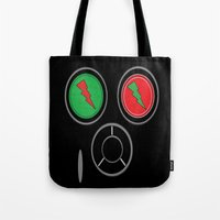 rave Tote Bags featuring RAVE MASK by shannon's art space