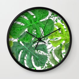 PALM LEAF B0UNTY GREEN AND WHITE Wall Clock