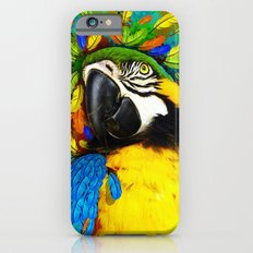 Gold and Blue Macaw Parrot Fantasy Slim Case iPhone 6
