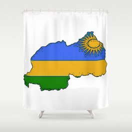 Rwanda Map with Rwandan Flag Shower Curtain