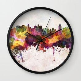 Jakarta skyline in watercolor background Wall Clock