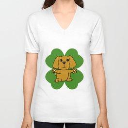 Dog On Four Leaf Clover- St. Patricks Day Funny Unisex V-Neck