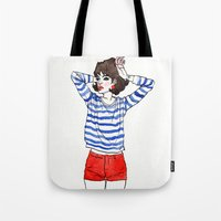 stripe Tote Bags featuring Stripe by Megan Jeffs