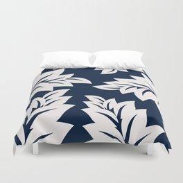 Navy Blue tropical leaves Duvet Cover