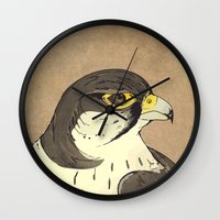 millenium falcon Wall Clocks featuring Falcon by Lynette Sherrard Illustration and Design