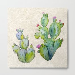 Water Color Prickly Pear Cactus Adobe Background Metal Print