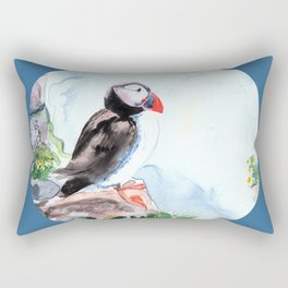 Puffin sitting on a rock with a blue background Rectangular Pillow
