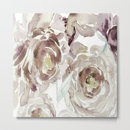 Earthy Painterly Floral Abstract Metal Print