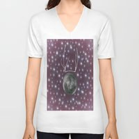 dark side of the moon V-neck T-shirts featuring Dark Side of the Moon by Helle Gade