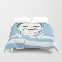 budapest hotel Duvet Covers featuring Ralph Fiennes. The Grand Budapest Hotel.  by Elena O'Neill
