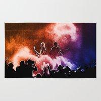 u2 Area & Throw Rugs featuring U2 / Adam Clayton / The Edge by JR van Kampen