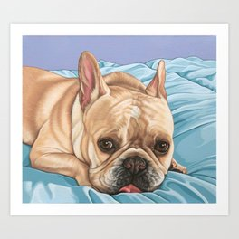 Sweet and Funny French Bulldog Painting, Frenchie Dog Portrait, Fawn French Bulldog Art Art Print