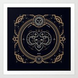 Aries Zodiac Gold White Black Background Art Print