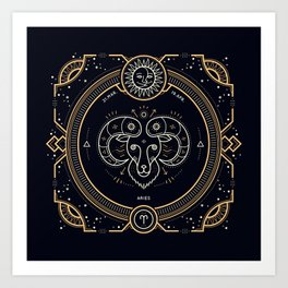 Aries Zodiac Gold White Black Background Kunstdrucke