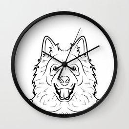 Samoyed Line Drawing Wall Clock