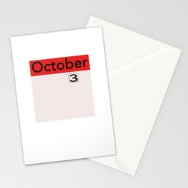 October 3rd on the Calendar Stationery Cards