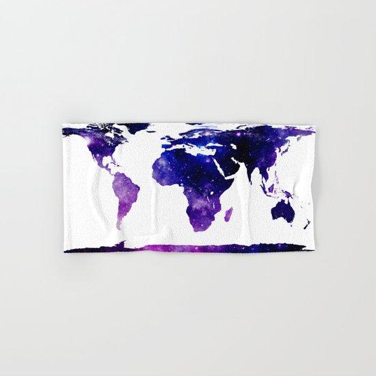 World Map Purple Blue Hand & Bath Towel
