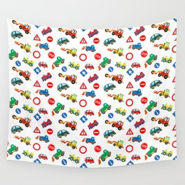 Kid cars, car and machine, tractor Wall Tapestry