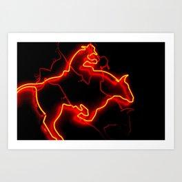 Neon Bullrider Art Print