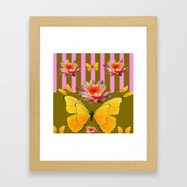 PINK WATER LILIES STRIPED BUTTERFLY PATTERNED ART Framed Art Print