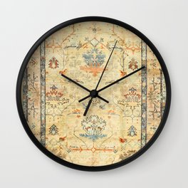 Fine Crafted Old Century Authentic Colorful Yellow Dusty Blues Greys Vintage Rug Pattern Wall Clock