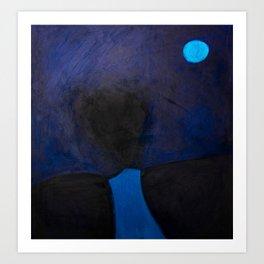 Full Moon. Long way down the nocturnal path. Art Print
